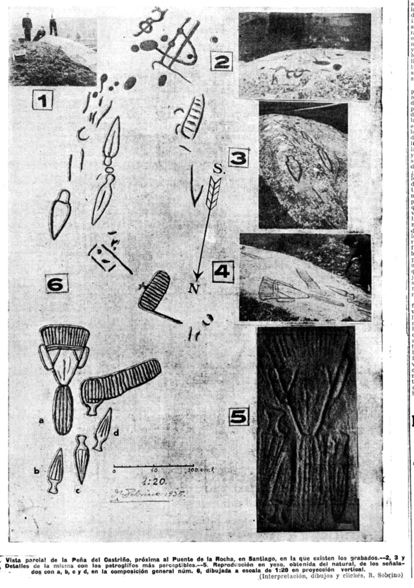 Descuberta do petróglifo de Conxo. Faro de Vivo 1 de agosto de 1935.