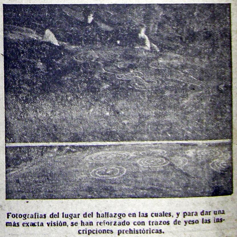Descuberta do Petróglifo de Correxíns. Xornal La Noche 1948.