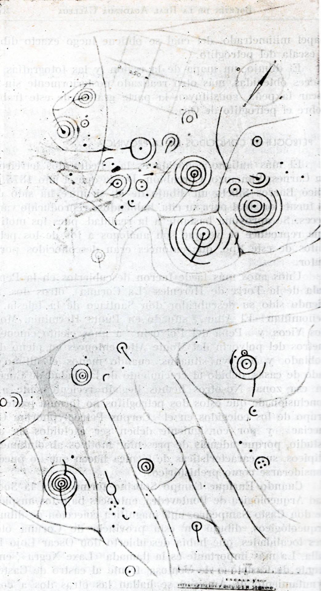 Calco do Petróglifo de Oca. Lorenzo-Ruza 1951. Boletín de la Real Academia Gallega.