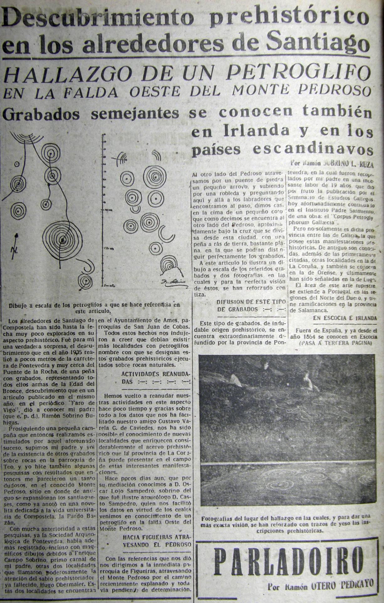 Descuberta de Correxíns. En «La Noche». 21 de abril de 1948.