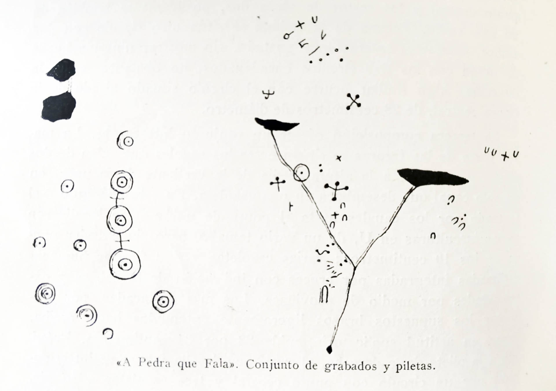 Bosquexo dos gravados da Pedra que Fala. C. García Martínez. 1968